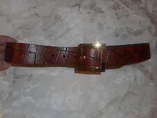 JIL SANDER    brow  croc  embossed  leather    belt  size  80  ( S  )