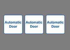 3x AUTOMATIC DOOR sticker sign, White, Self Adhesive, small Square 8x8cm