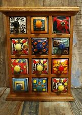 MANGO WOOD CHEST WITH 12 CERAMIC DRAWERS TRINKETS SPICES JEWELLERY FAIR TRADE A