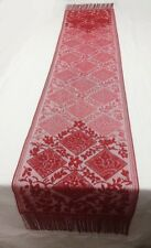 """Heritage Lace Chantilly 15.5 x 81"""" Red Fringed Scarf/Sash/Table Runner 1st Irreg"""