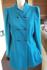 DOTTI Gorgeous Turquoise Wool Blend Button Up Coat Size 14.