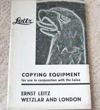 COPYING EQUIPMENT FOR Leica Cameras BROCHURE 1937 E.Leitz Wetzlar & LONDON 44pp