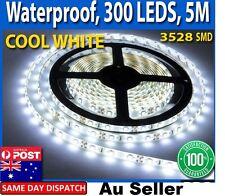 Waterproof Flexible 12V Led Strip Lights 3528 SMD Cool White 300 LEDs 5M Roll Au