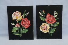 Vintage Mid Century Paint by Number Rose Bouquet on Black Palmer Pann Unframed