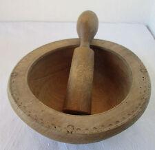 ۞  Antique primitive wooden mortar and pestle, bowl pokerwork ornaments folk art