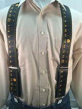 "New, Men's, Black Measuring Tape, XL, 2"",Adj. Suspenders / Braces, Made in USA"