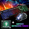 T6 Rainbow Backlit USB Ergonomic Gaming Keyboard Mouse Set For PS4 PS3 Xbox 360
