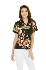 Women Ladies Aloha Shirt in Rafelsia Black