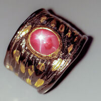Star Ruby Ring Silver 925 Sterling Handmade7x6mm Size 7 /R128762