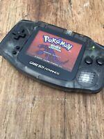 Nintendo Gameboy Advance GBA Clear Black Handheld Gaming Console BACKLIT IPS V2