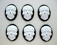 6 WHITE SUGAR SKULL on BLACK Goth Punk Emo Dia de los Muertos 40mm x 30mm CAMEOS