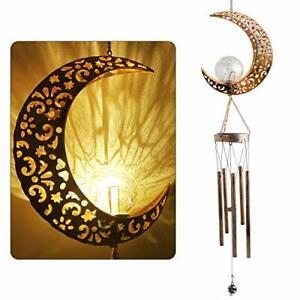 JOBOSI Moon Crackle Glass Ball Wind Chimes Solar Wind Chimes Sympathy Wind Ch...