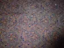 ancien tissu french textile tissé épais fleurs bleu lin 19e 1900 213x118 cm