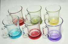 Modern 6 Multi Colour Base Glassware Set Tea Cup Expresso Espresso Coffee 225ml