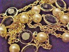 Vintage Necklace-Swarovski Crystal Elements-Open Bezel Crystal Blk Gold P Bead F