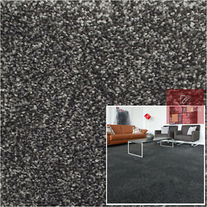Saxony Carpets Sale 17mm Thick Luxury Soft Flecked Lounge Bedroom Charcoal Grey