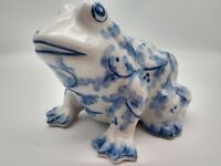 Frog Money Bank  Andrea by Sadek blue white floral 6 x 4.5 planter hand painted