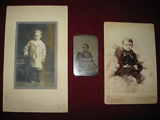 Three antique photographs of children boys, one tintype