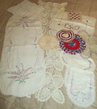 New listing Lot of Estate Sale Linens 12 Pc Embroidered Crocheted Lace Doilies Runner Etc