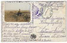Hungary Austria 1916 military illustrated postcard with soldier photo censored