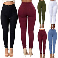 Women Pencil Skinny Slim Jeans Pants High Waist Stretch Casual Trousers Leggings