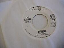 Paul Parrish Numbers/Mono 45 RPM Warner Bros Records EX