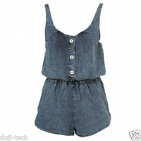 Topshop Vtg Acid Wash Blue Denim Shorts Playsuit Jumpsuit Romper 8 + 10 36 38 S
