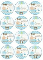 24/12 EDIBLE PERSONALISED BABY SHOWER BABY BOYS ICING 4.5CM CUPCAKE TOPPERS