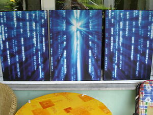 3 blaue Kunstducke auf Leinwand Blue Matrix abstrakt