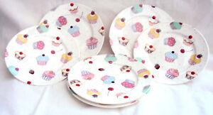 "Fairy Cupcakes Plates Set of 6 Fine Bone China 6"" 15 cm Plates Decorated UK"