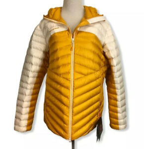 NWT Mammut Broad Peak IN Hooded Puffy Gold/White Down Jacket Womens L