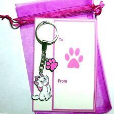 Novelty Kawaii Cute Disney Pink Aristocat Marie the Cat Charm Pendant Keyring