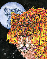 NIGHT FIRE WOLF 8X10 Print from Artist Sherry Shipley