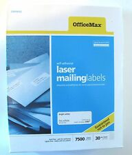 """OfficeMax Laser Mailing Labels White 1"""" x 2 5/8"""" Self Adhesive, Used 4110 count"""