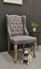 French Style Wingback Washed Oak Linen Upholstered Host / Hostess / Dining Chair