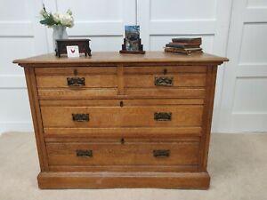 Antique Pine 2/2 Drawer Chest Drawers Victorian Original Brass handles