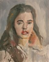 Original Jeffrey Lloyd Barnes 8x10 Loose Style Portrait Painting Woman