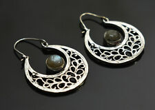 Natural Labradorite Gemstone 925 Sterling silver Plated Ethnic Earrings
