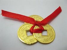 Set of 3 Chinese Golden I-Ching Double Dragon Coins tied with red Ribbon(CO35)