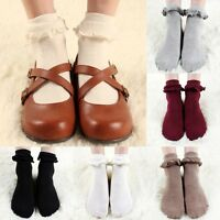 Women Vintage Lace Ruffle Frilly Ankle Socks Princess Fashion Lady Cotton Socks