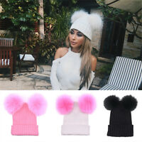 EG_ Women Knitted Faux Fur Ball Pom Pom Cute Lady Beanie Hat Warm Cap Sanwood