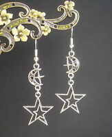 Celestial Stars and Moon Dangly Silver Plated Earrings