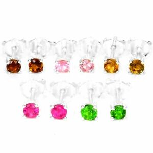 NATURAL AAA MULTI COLOR TOURMALINE ROUND STERLING 925 SILVER STUD EARRING