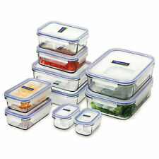 GLASSLOCK 10pc TEMPERED GLASS MICROWAVE SAFE CONTAINER SET W/ LID