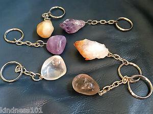 Crystal Keychain (Keyring) Healing Amethyst, Citrine, Quartz Tumble Stone Point