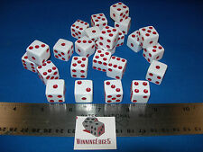 WHITE DICE w/ RED PIPS 16mm (24 PACK) BUNCO PARTY FREE SHIPPING