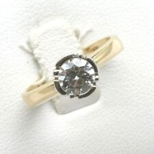 Vintage 14k yellow white gold Cubic Zirconia Bezel Ring Solitaire 1 carat Estate