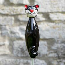 Keramik Katze für den Garten, schwarz groß / Gartenstecker / Tangoo