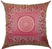 "24"" x 24"" Large Mandala Pink Silk Brocade Pillow Cushion Cover Sofa Throw Decor"