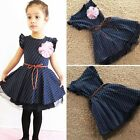 2-7Y Kids Girls Princess Dress Floral Lace Hem Dots Party Summer Clothes Dress